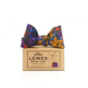 7bdfa98d64b5 Blue, purple and mustard yellow men's self tie floral bow tie