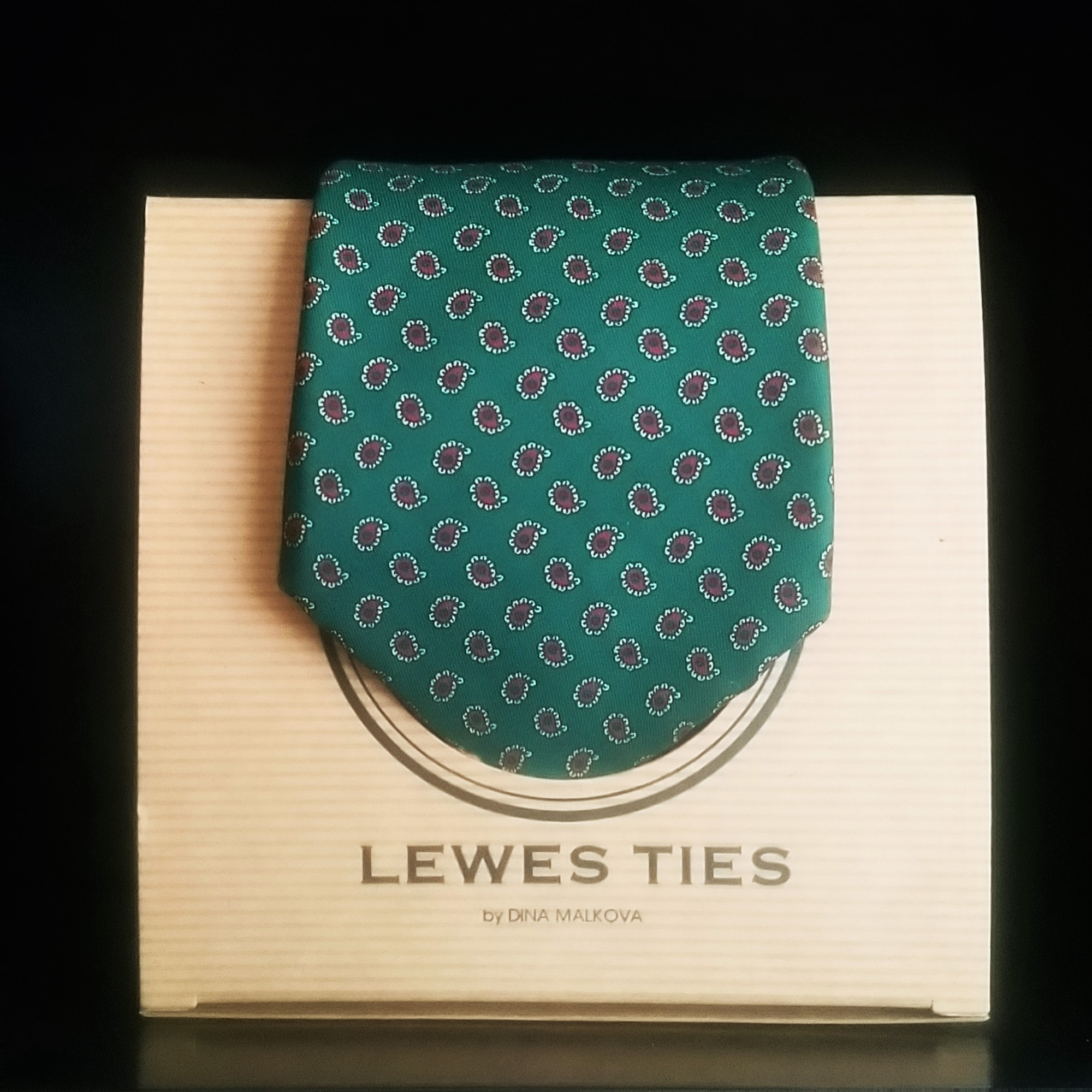 Deep Green And Burgundy Paisley Silk Tie